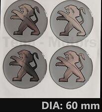 4 pezzi x Peugeot 60 mm Centro Ruota Adesivo In Vinile Emblema Distintivo Logo