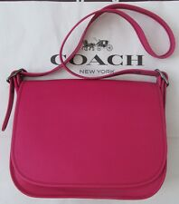 COACH 55298 Saddle Bag in Cerise Pink Glovetanned Leather