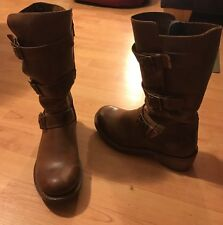 Dr. Martens Brown Leather Mid-calf Buckle Boots EUC *8