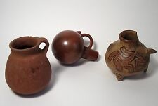 Three ancient Mayan Pre-Columbian pottery vessels