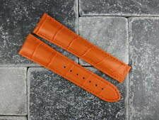 OMEGA 22mm Orange Leather Deployment Strap Orange Stitch Watch Band Seamaster