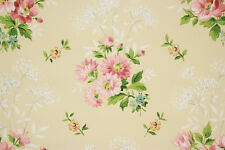 1940's Vintage Wallpaper Pink Bouquets on Yellow