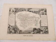 Ancienne Carte géographique du département de l'Aude - Levasseur  vers 1850