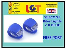 2 X BLUE LED SILICONE BIKE BICYCLE CYCLE FRONT / REAR CAMPING BACKPACK LIGHT!