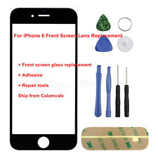 "For iPhone 6 4.7"" Front Outer Screen Glass Lens Replacement Black REPAIR KIT"