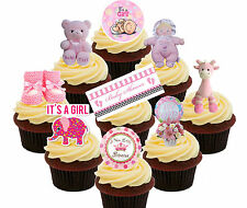 Baby Shower Girl, 36 Edible Cup Cake Toppers, Standup Fairy Bun Decorations Pink