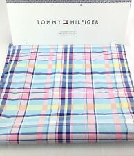 "Tommy Hilfiger Table Runner Plaid 15"" X 72"" Easter Preppy Pink Blue Cotton NEW"