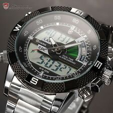 U.S.A Shark Stainless Steel Men's Digital LCD Quartz Date Day Sport Wrist Watch