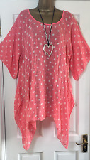 NEW ITALIAN LAGENLOOK PLUS SIZE SPOT PRINT TUNIC TOP CORAL FIT 16 18 20 22 C322