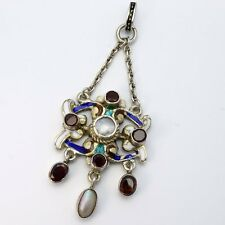 Stunning Antique Austro Hungarian Silver Enamel Garnet & Pearl Lavaliere Pendant