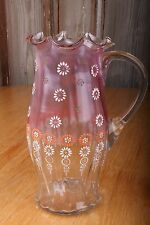Vintage Art Glass Hand Blown Handle Pitcher Flowers