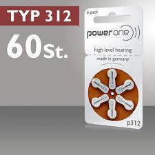 60 Pezzi 10 Blister PowerOne Batterie per Apparecchi Acustici p312