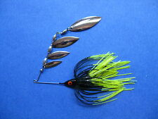3/8 oz Quad Spinner Bait R BL/Chart tip bass musky pike jig tackle fishing lure