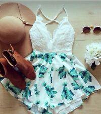 Women's Summer Floral Print Sexy Casual Playsuit Romper