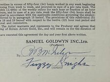 Fuzzy Knight Typed Contract For Lady And The Cowboy 6/13/36 Samuel Goldwyn Rare
