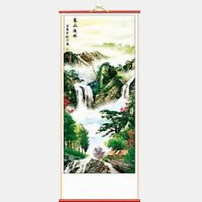 CHINESE WALL HANGING SCROLL - MOUNTAIN LANDSCAPE - 82cm LENGTH - FREE UK P&P