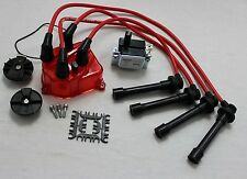 MAXX Red Spark Plug Wires Red Distributor Cap Coil Honda Civic D16Y8 D16Z6