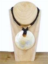 Lovely Black Multi Strand Bead Necklace With Large Shell Pendant