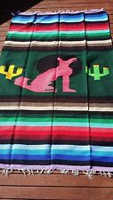 """Mexican Molina Throw Blanket Coyote Design 79"""" x 54"""" Woven Green Pink Striped"""