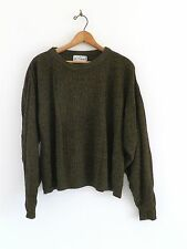 Vtg 80s Oversized Crop LE TIGRE Green Black New Wave Boho Goth Hipster Sweater M