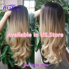 Black To Blonde Ombre Synthetic Hair Wigs  Body Wave Style Heat Resistant Fiber