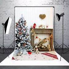8x12FT Christmas Tree Fireplace Gift Wood Vinyl Photography Background Backdrop