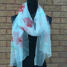 Poppy Hand Painted Pure Silk Chiffon Scarf by Julie Riisnaes