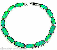 Green Fire Opal Inlay 925 Sterling Silver Link Tennis Bracelet 7-3/4'' Long