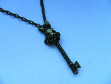Unusual Alice in Wonderland Bronze Rabbit and Key Necklace