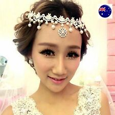 Women White Wedding Bride Bridal Crystal Lace Pearl Party Hair Headband Prop