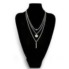 Silver Luxury Style Three Layer Short Clavicle Necklace Sequin Chain Hot
