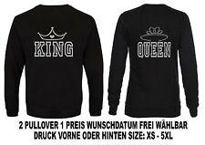 King Queen Sweatshirt Partner Look Hoodie Pullover Verschiedene Farben XS - 5XL