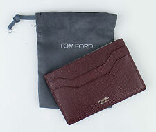 NWT TOM FORD Cordovan Brown Smooth 100% Saffiano Leather Card Holder Wallet $250