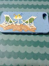 Apple iPhone 5 light blue silicon/gel/rubber designed pictorial beach case