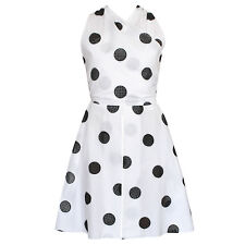 AZZEDINE ALAIA open back white cotton black polka dot mini wrap dress 40 NEW