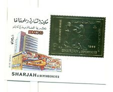 JEUX OLYMPIQUES - OLYMPIC GAMES MEXICO CITY SHARJAH 1968 block A Golden Stamp