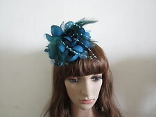 Wedding TEAL BLUE Feather Hair Fascinators Clip Corsage Brooch Pin Headpieces