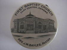 Vintage CELLULOID Measuring Tape FIRST BAPTIST CHURCH Clay Center KS
