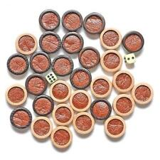 Luxury 30 Backgammon Game Pieces Checkers Chips Dark & White Wooden Leather New