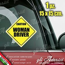 Adesivo Stickers Auto Moto Camper WOMAN DRIVER caution segnale a bordo