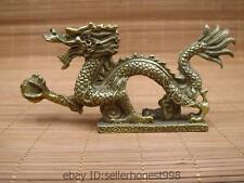 China Chinese Folk Feng Shui Brass Copper  Fly Dragon Play Bead Statue