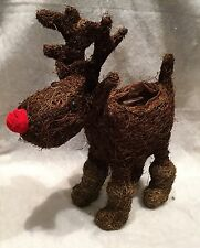 Christmas Planter Rudolph The Reindeer Rattan Plant Pot Gift Decoration Red Nose