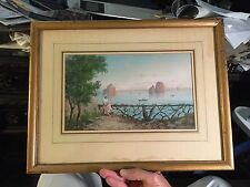 antique watercolor painting gouache Italy girl fence sea boats rock formations