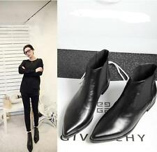 Womens spring Leather Elegant Pointy Toe Ankle Boots Chelsea Motorcycle Shoes