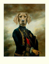 "THIERRY PONCELET ""The Marquis"" dog portrait humour SIZE:86cm x 66cm NEW print"