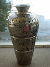 """Very Large Tin Metal Silver 24""""H Floor Vase India Hand Crafted Hammered Pierced"""