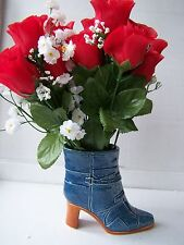 SM ceramic blue denim boot shoe novelty vase planter dressing table ornament new