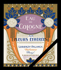 Vintage French Perfume Label Art Deco Aux Fleurs c. 1910 Lorenzy Palanca Paris