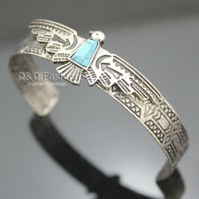 Vintage Silver Carve Eagle Turquoise Zuni Navajo Style Bracelet Bangle Cuff