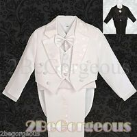 5pcs Formal Tuxedo Tail Suit Christening Baptism Wedding Page boy Baby 6m-7y 011